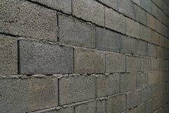 Wall of gray slag block brick. In perspective Royalty Free Stock Photo