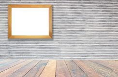 Wall gray , vintage wall Textured background and empty wood desk and Wooden frame .Blank space for text and images.  royalty free stock photography