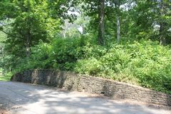 Wall of the Great Gateway at Fort Ancient. Fort Ancient State Memorial is a collection of Native American Earthworks which is located in Ohio, United States Royalty Free Stock Photos
