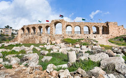 Wall of Greco-Roman city of Gerasa Jerash. In Jordan Royalty Free Stock Photos