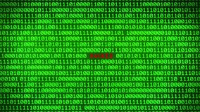 Wall of Green Binary Code Revealing HACKED Data Matrix Background. Wall of Green Binary Code Revealing Word Between Random Binary Data Matrix Background stock video footage