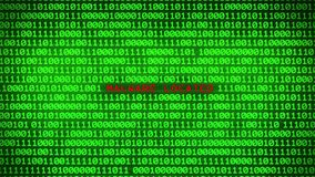 Wall of Green Binary Code Revealing MALWARE LOCATED Data Matrix Background. Wall of Green Binary Code Revealing Word Between Random Binary Data Matrix Background stock footage