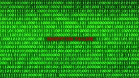 Wall of Green Binary Code Revealing ENCRYPTION FAILURE  Data Matrix Background. Wall of Green Binary Code Revealing Word Between Random Binary Data Matrix stock video
