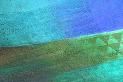 Wall with green and blue pattern paint Stock Photography