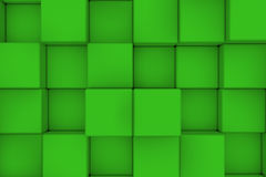 Wall of green cubes. Abstract background. 3d render Stock Images