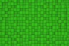 Wall of green cubes. Abstract background. 3d render Royalty Free Stock Photography