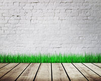 Wall with green grass Royalty Free Stock Photos