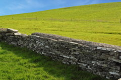 Wall between green pastures. A wall of division between two green pastures, Ireland Royalty Free Stock Photos