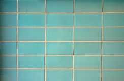 Wall with Green rectangular Tiles. Uniform Pattern for a Background stock images