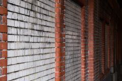 Dirty Mossy Brick Wall Tunnel Red White Cement Dark royalty free stock images