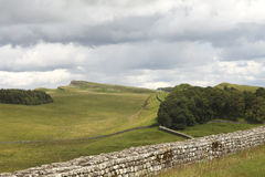 Wall of Hadrian. Part of the Hadrian wall near the Roman Fort in Northumberland Royalty Free Stock Images