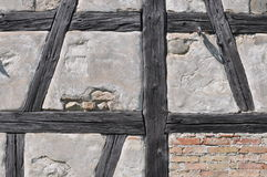 Wall of half timbered house. Detqail of typically half-timbered house in Germany in decay Royalty Free Stock Images