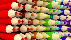 Wall of half-turned colored pencils gradient background Royalty Free Stock Images