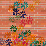 Wall Handprints Represents Painted Construction And Cement Royalty Free Stock Photo