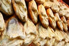 Wall of hanging hams, Spain Stock Photo