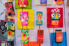 Wall hangings - handicrafts on display. Colorful decorative wall hangings, handicrafts on display with white background during the Handicraft Fair in Kolkata Stock Photography