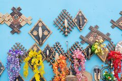 Wall hangings - handicrafts on display. Colorful decorative wall hangings, handicrafts on display with white background during the Handicraft Fair in Kolkata Stock Photos