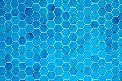 Wall of hexagonal blue tiles Stock Photo