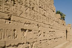 Wall with hieroglyphs, Luxor, Egypt Royalty Free Stock Image