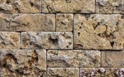 Wall of high quality travertine or thermolith. Blank for background or tile stock photos