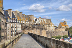 Wall of historical city Saint Malo, France Stock Photos