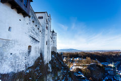 The wall of Hohensalzburg Castle. View of the alpine mountains from the wall of Hohensalzburg Castle Royalty Free Stock Image