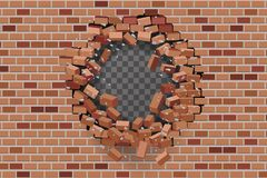 Wall hole destruction red brick break template transparent background vector illustration. Wall hole destruction red brick break transparent template background vector illustration