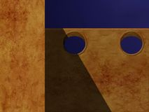 Wall with holes. Illustration of orange textured wall with round holes at top Stock Photos