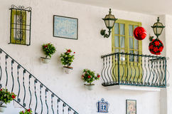 Wall of the house with a balcony and stairs Royalty Free Stock Photos