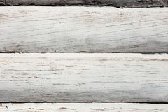 Wall of the house built of bleached beams. As background royalty free stock image