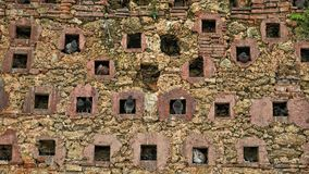 A wall, the house of the pigeons. The wall made with holes in a square shape, finally used as houses for pigeons royalty free stock photography