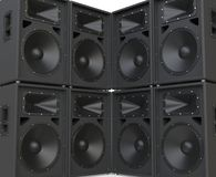 Wall of huge speakers facing each other Royalty Free Stock Photo