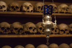 Wall of human skull, Meteora monastery stock photo