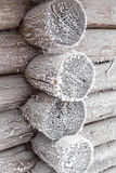 The wall of the hut, covered with frost. Royalty Free Stock Images