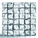 Wall of ice cube bricks. Transparent wall made of ice cube bricks,  on white Stock Images