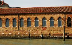 Wall illuminated by the sun in Murano in Venice Lagoon in Italy Stock Photography