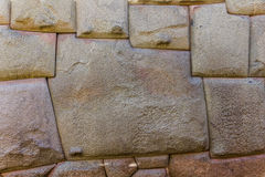 Wall inca temple one stone twelve sides stock image