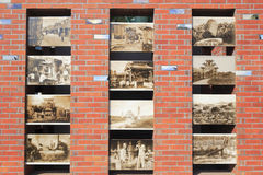 Wall inlaid with historical photos of amoy city Stock Photos