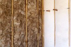 Wall Insulation of a New Home Stock Images