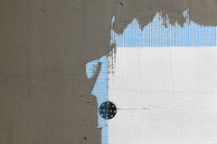 Wall insulation, styrofoam, mesh and mortar Stock Images