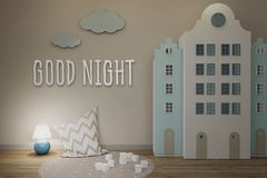 Wall in the interior of the children`s room in the Scandinavian style. Good night sign. The evening included a night light. vector illustration