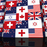 Wall international flags and Red Cross Stock Photo