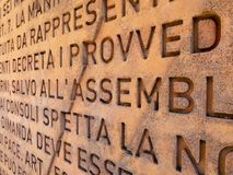 The wall of the Italian constitution royalty free stock photo