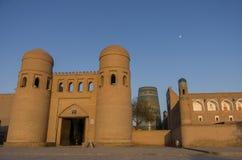 Wall of Itchan Kala (Ichon Qala) - west gate (Ata Darvoza) - Khi Royalty Free Stock Photo
