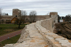 The wall of Izborsk fortress Stock Images