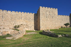 The wall of Jerusalem, lit by the bright sun Royalty Free Stock Photography