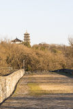 Wall and Jiuhua mountain pagoda Royalty Free Stock Photo