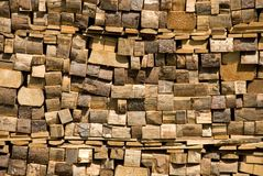 Wall of joist. A wall of joists near the house Stock Image