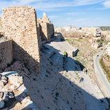 Wall of Kerak castle and houses of Al-Karak town Royalty Free Stock Images