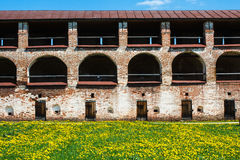 Wall of Kirillo-Belozersky Monastery with arcs and doors Royalty Free Stock Photo